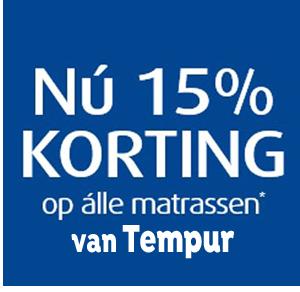 15% korting op matrassen van Tempur!